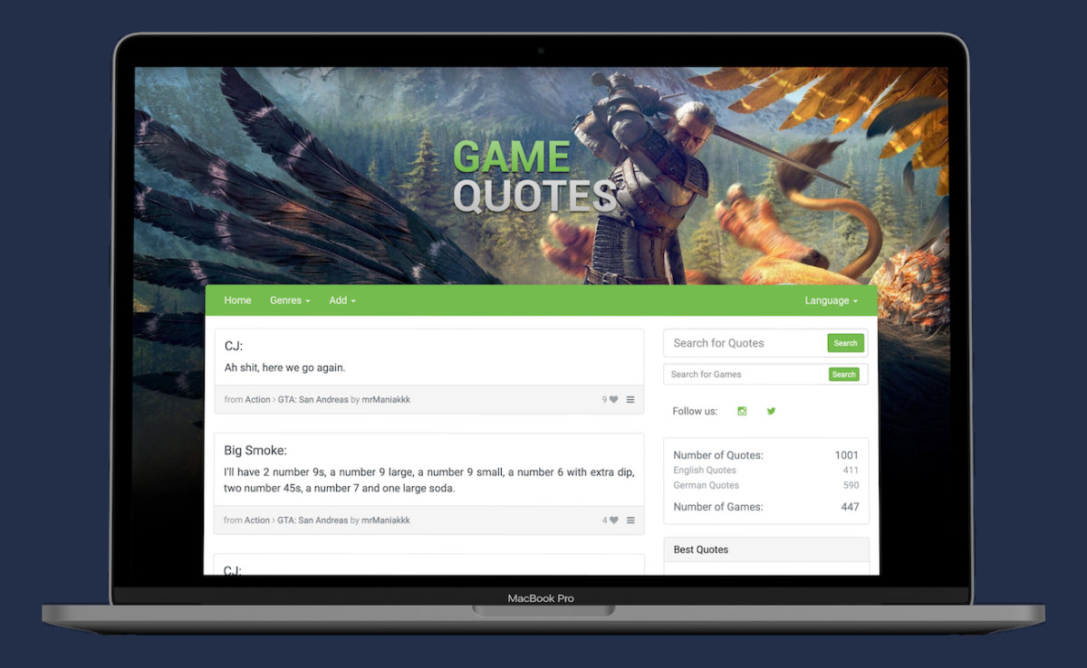 Preview of the GameQuotes.net website