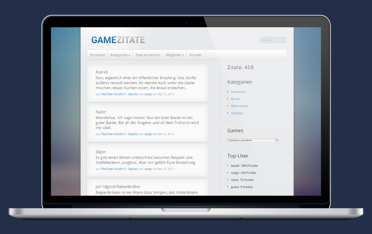 Preview of the Game Zitate website